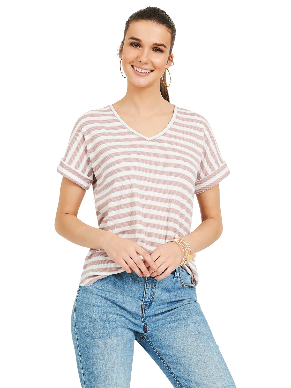 V-Neck Waffle Knit Tee With Dolman Cuffed Sleeves