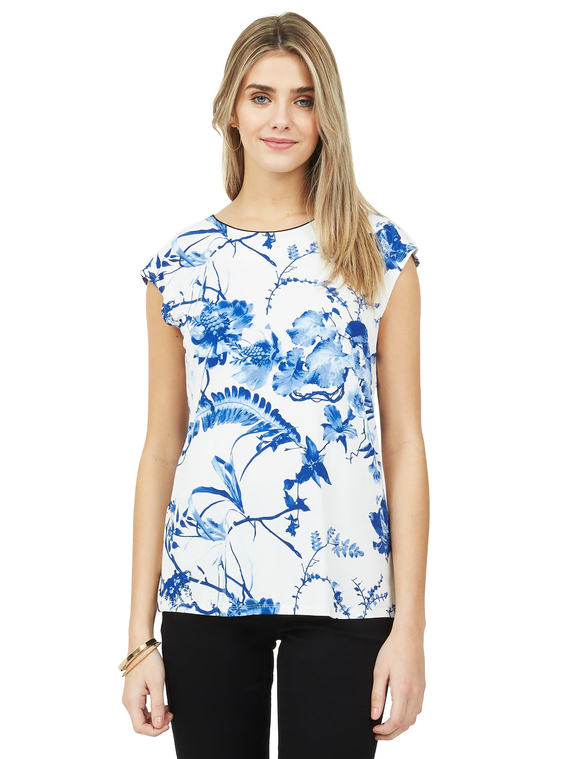 Printed Back Bow Top