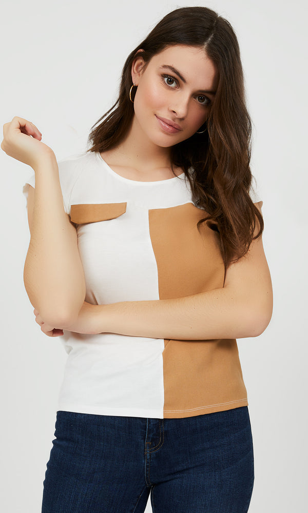 Colour Block High-Low Tee