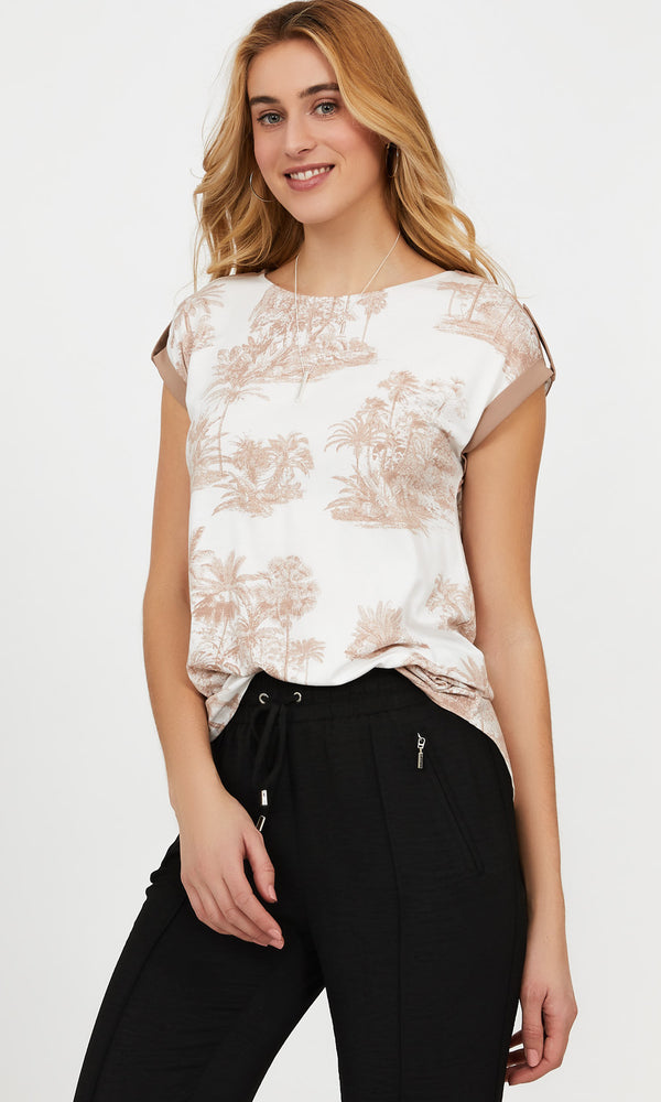 Short Sleeve Printed Chiffon Top