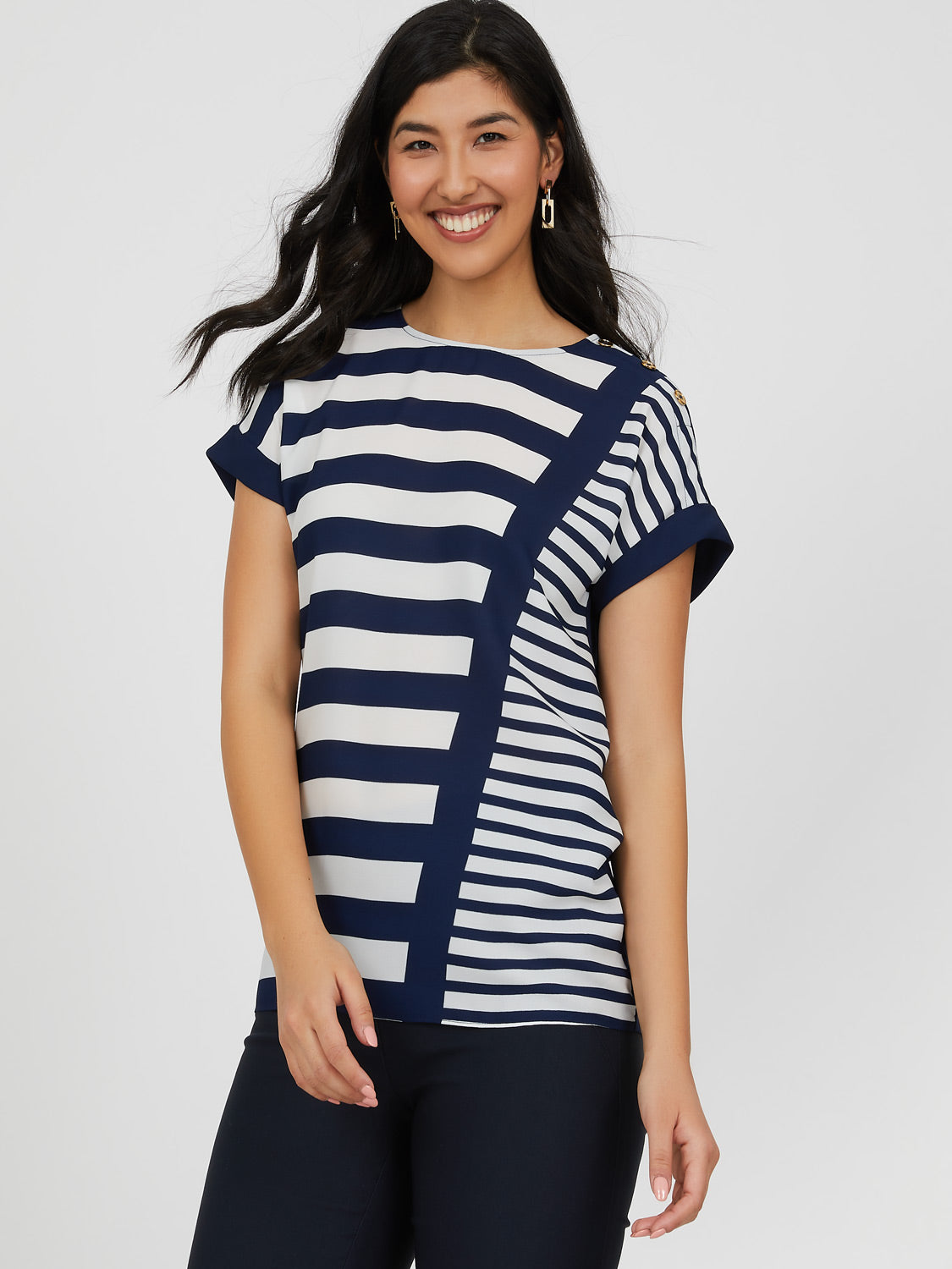 Short Dolman Sleeve Chiffon Trim Stripe Top