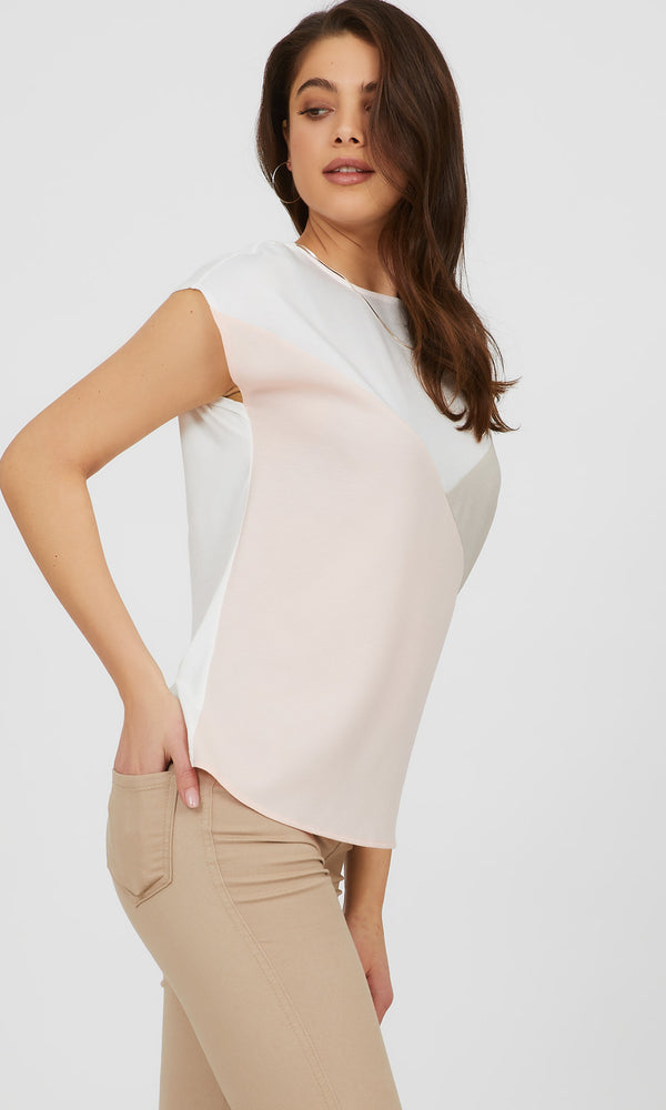 Short Dolman Sleeve Colour Block Top