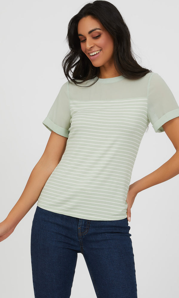 Chiffon Yoke Yarn Dye Stripe Knit Top