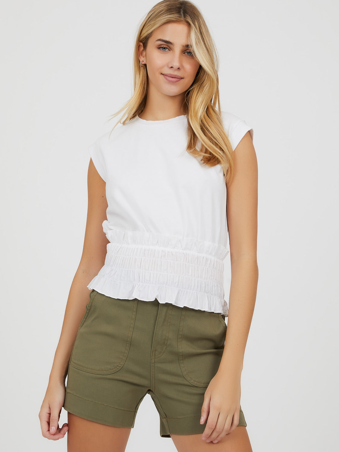 Short Sleeve Smocked Waist Poplin Knit Top