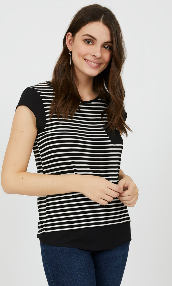 2-fer Striped Chiffon Tee