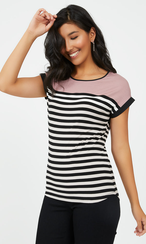 Striped Colour Block Tee