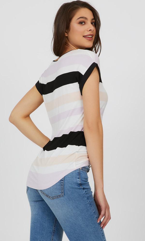 Variegated Yarn Dye Stripe Knit Top