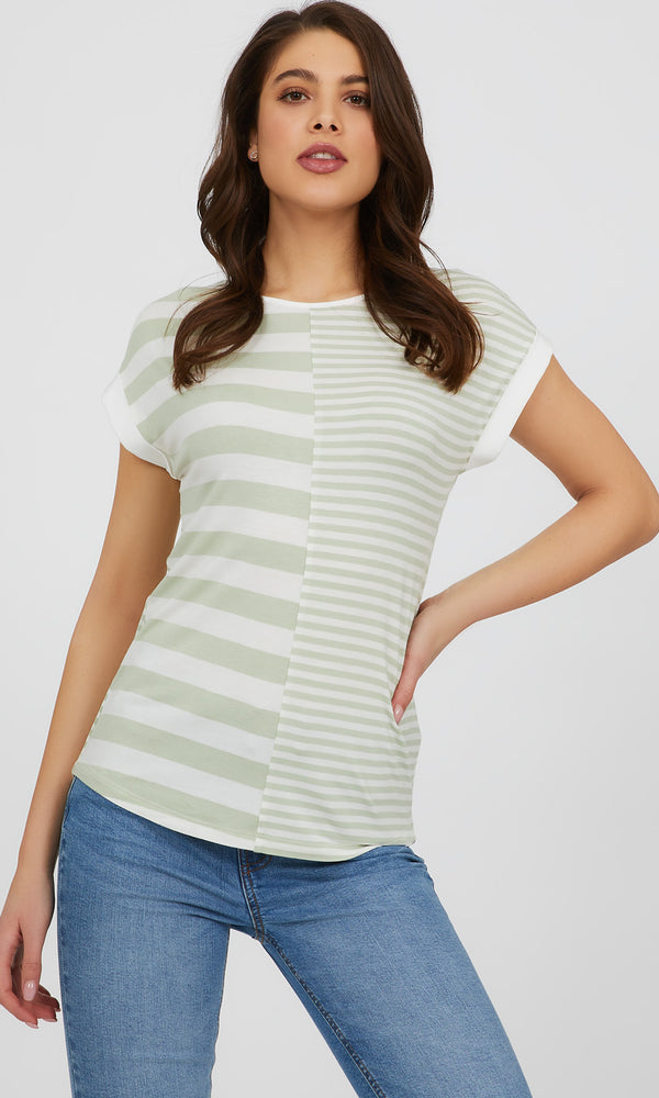 Short Sleeve Yarn Dye Stripe Knit Top