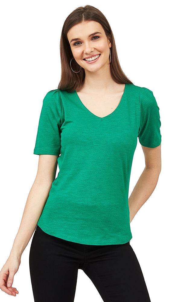 Poof Sleeve V-Neck Top