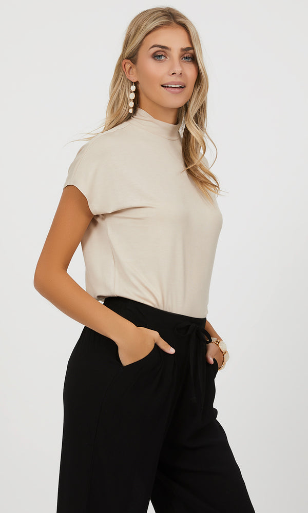 Cap Sleeve Mock Neck Top