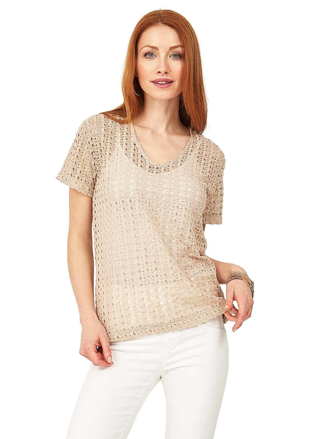 Crochet Lace V-Neck Top