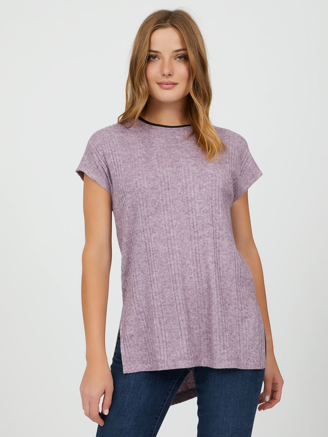Short Sleeve Variegated Rib Knit Top