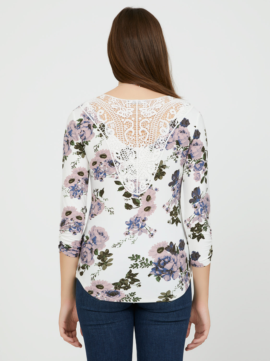 ¾ Sleeves Floral Brushed Knit Top