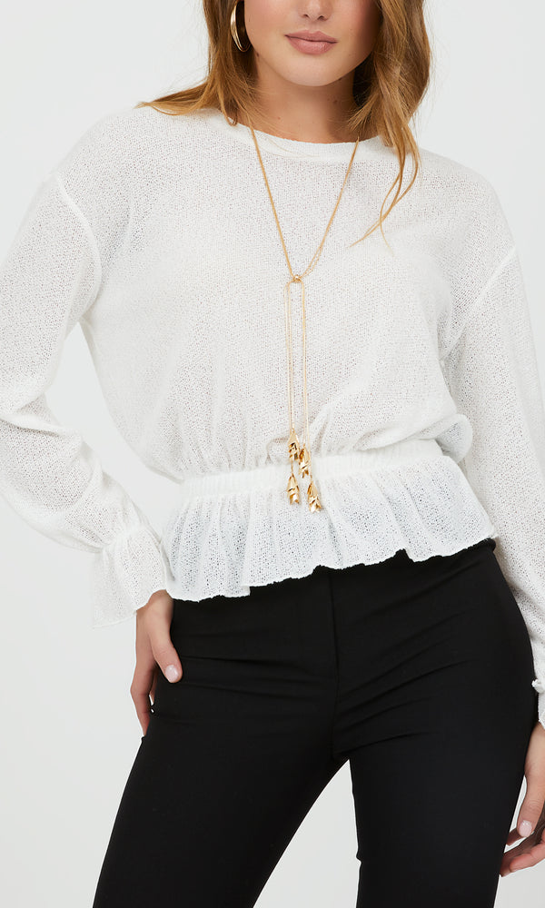 Long Bell Sleeve Peplum Top