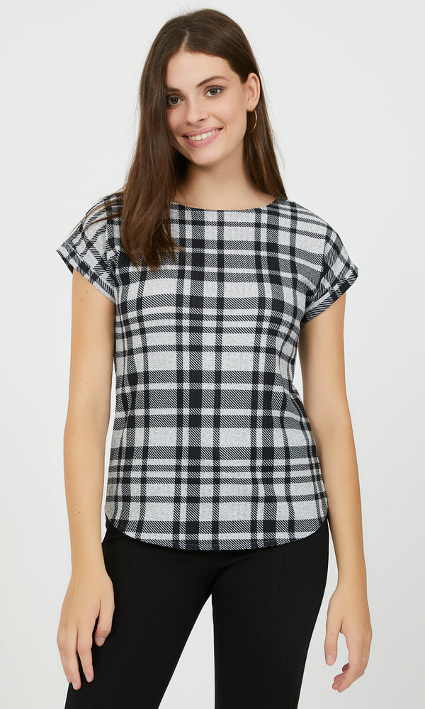 Plaid Rib Mélange Hacci Top