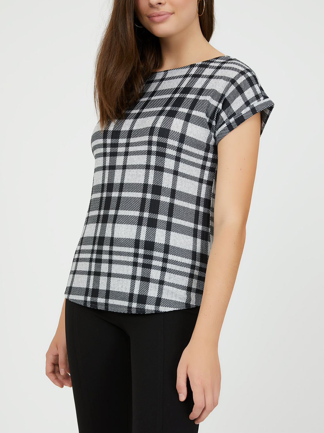 Short Sleeve Plaid Rib Top
