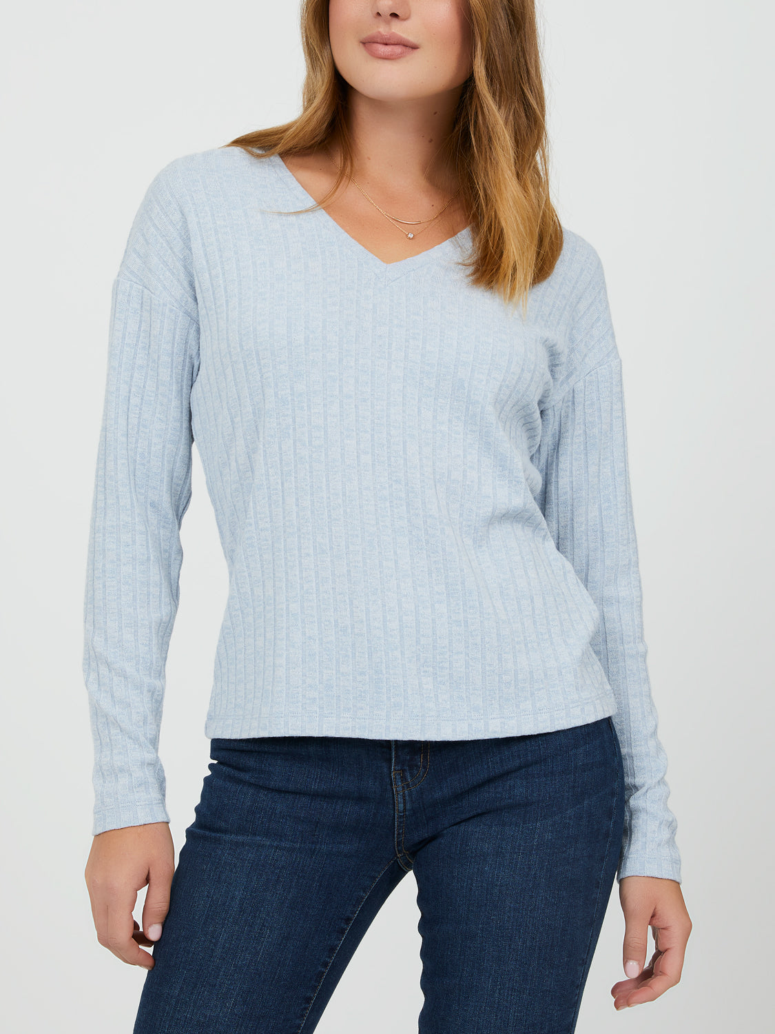 Rib Knit V-Neck Sweater Knit Top