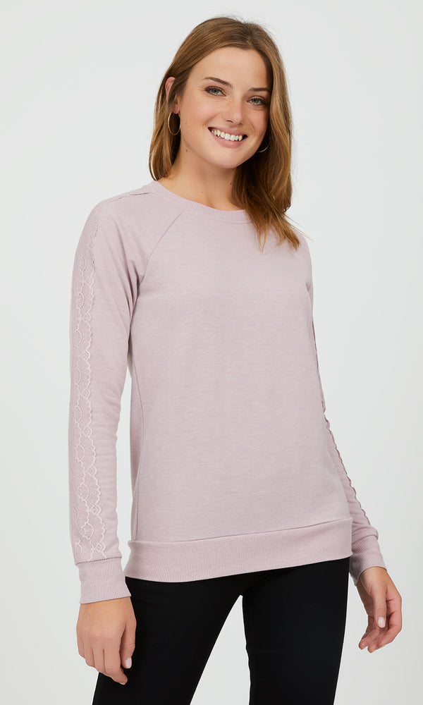 Long Sleeve Lace Appliqué Sweatshirt
