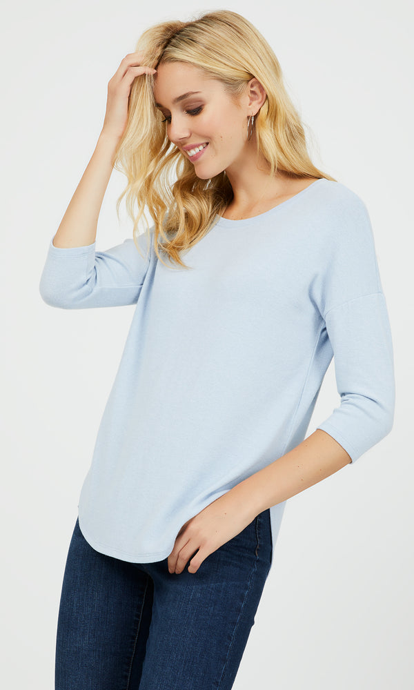 ¾ Sleeve Sweater Knit Top