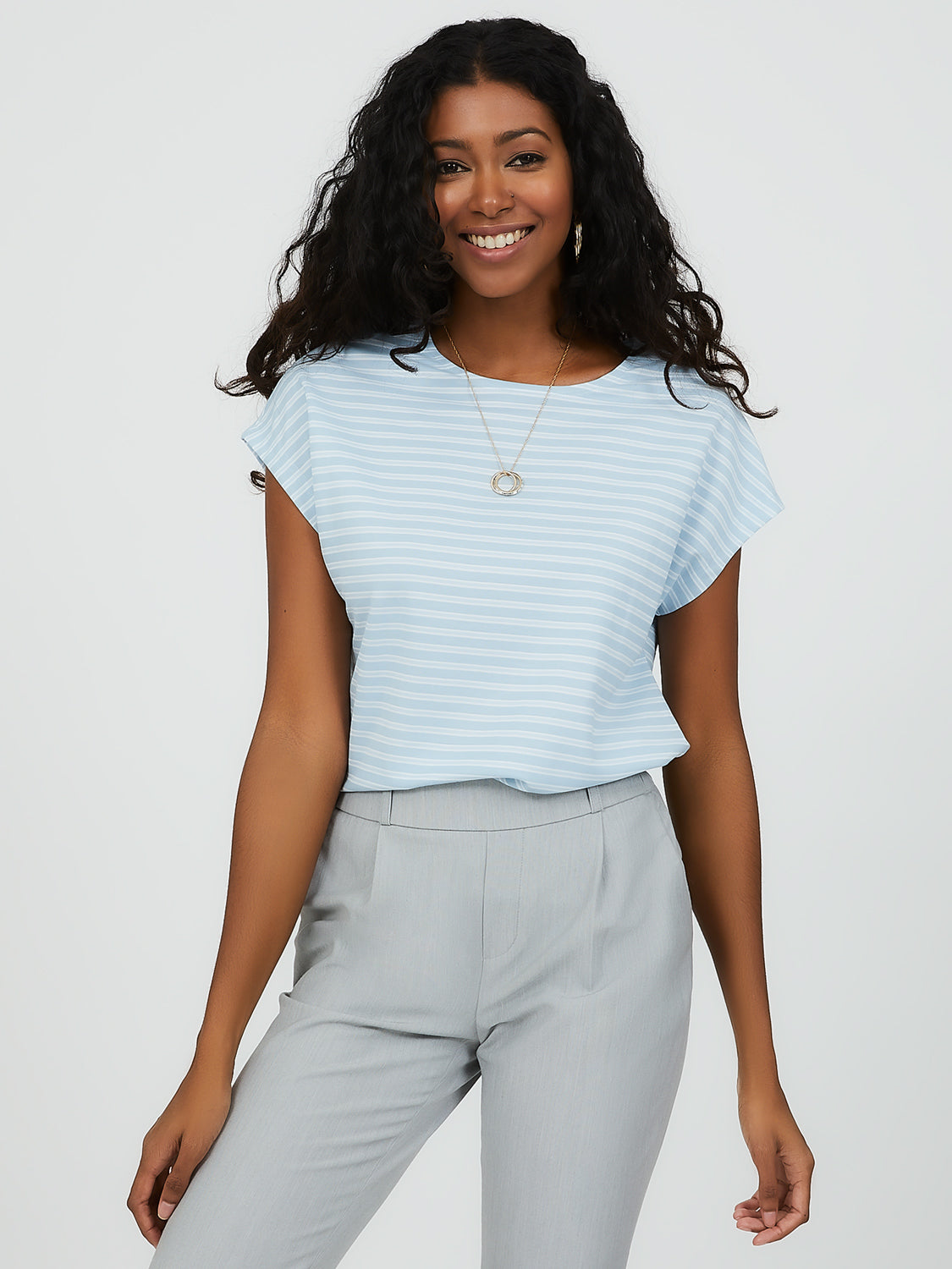 Short Dolman Sleeve Striped Tee