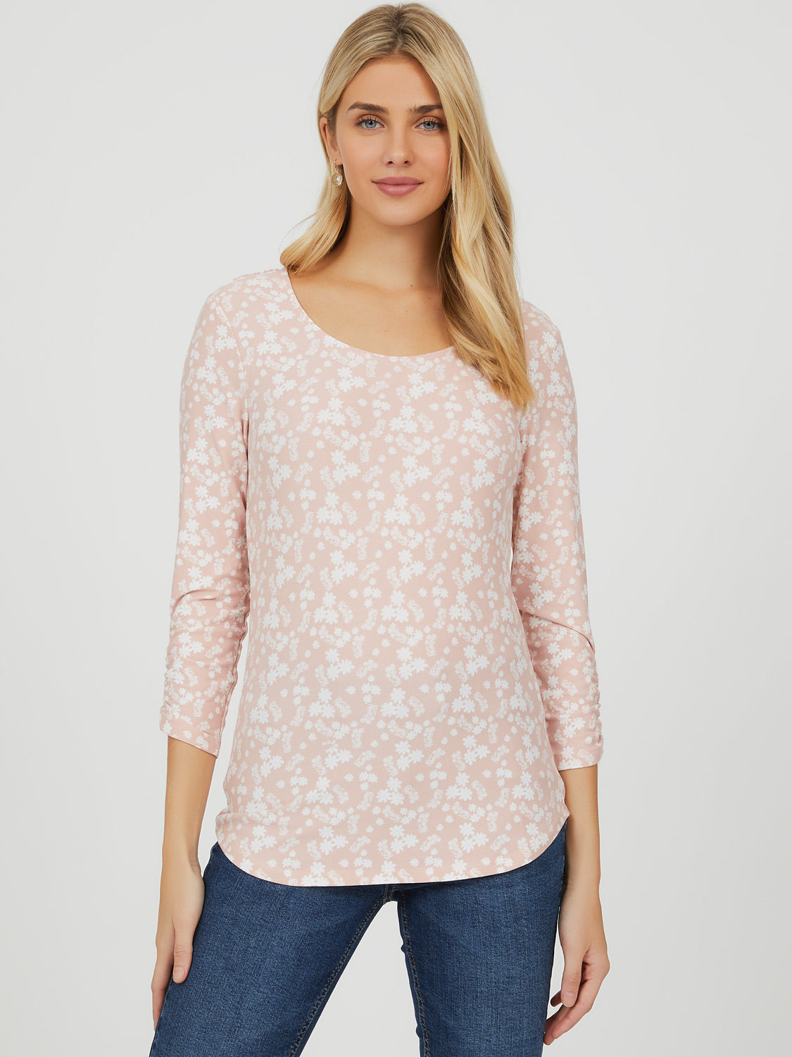 ¾ Sleeve Crochet Floral Top