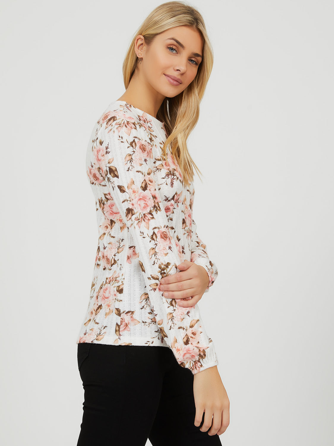 Balloon Sleeve Floral Pointelle Top