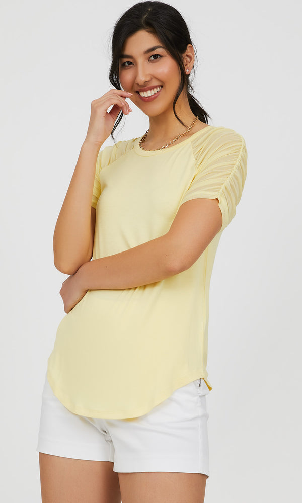 Short Mesh Sleeve Jersey Knit Printed Top