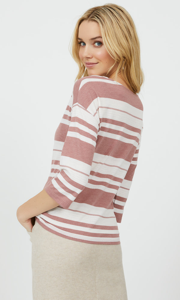 ¾ Sleeve Stripe V-Neck Tee