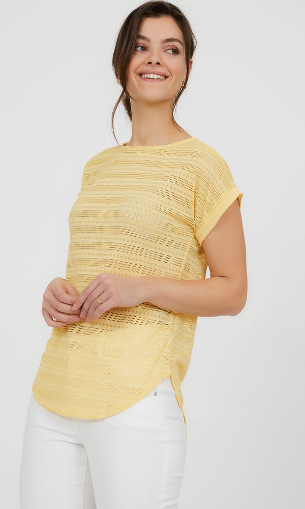 Short Dolman Sleeve Jacquard Knit Top