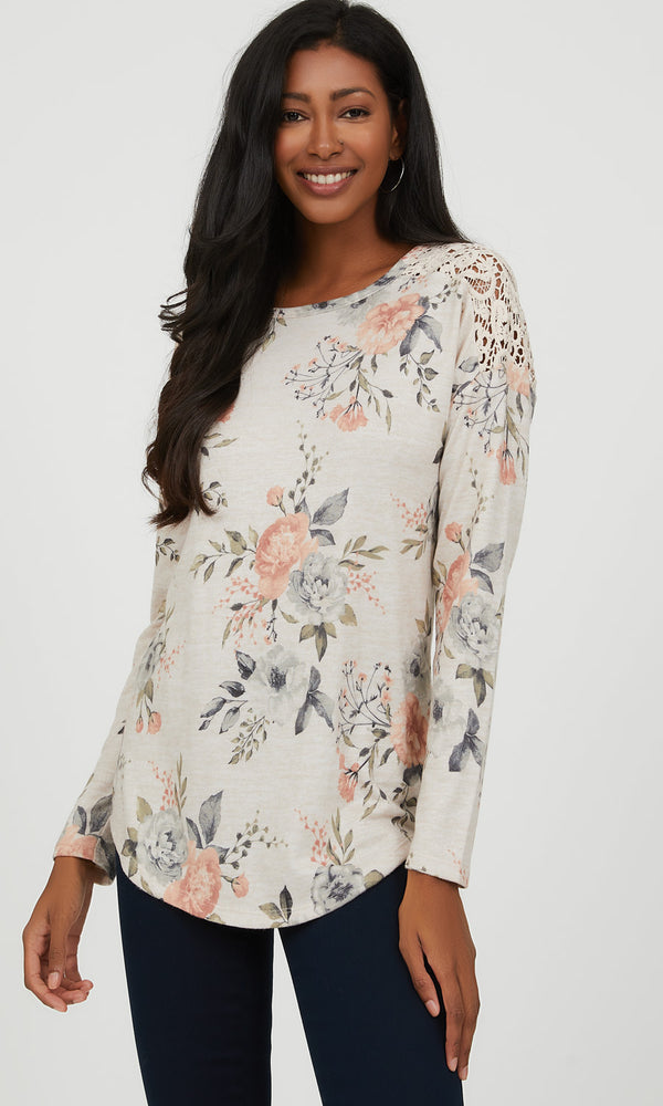 Crochet Shoulder Floral Mélange Knit Top