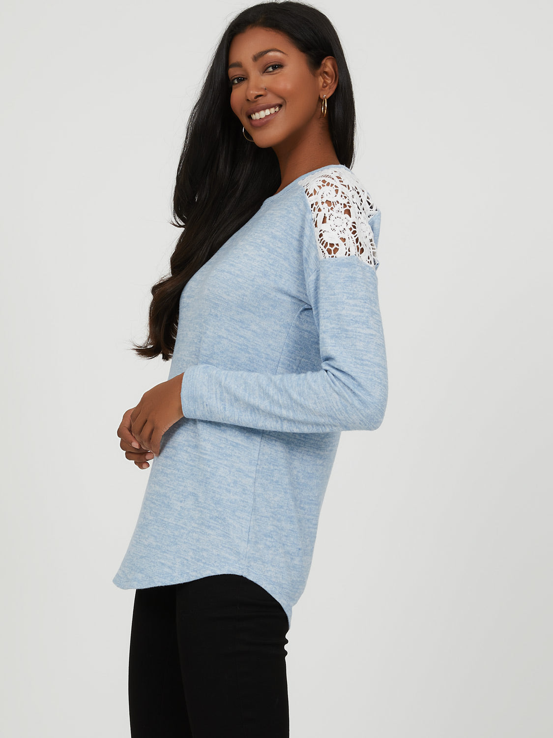 Crochet Shoulder Mélange Knit Top