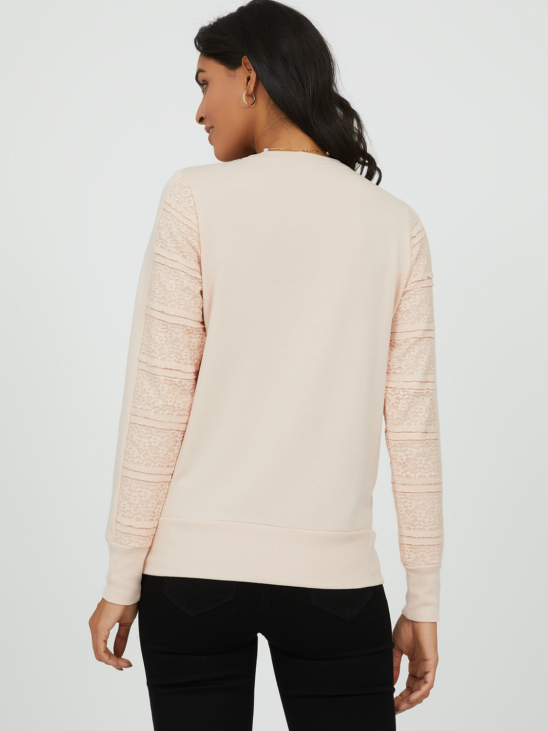 Lace Appliqué French Terry Sweatshirt