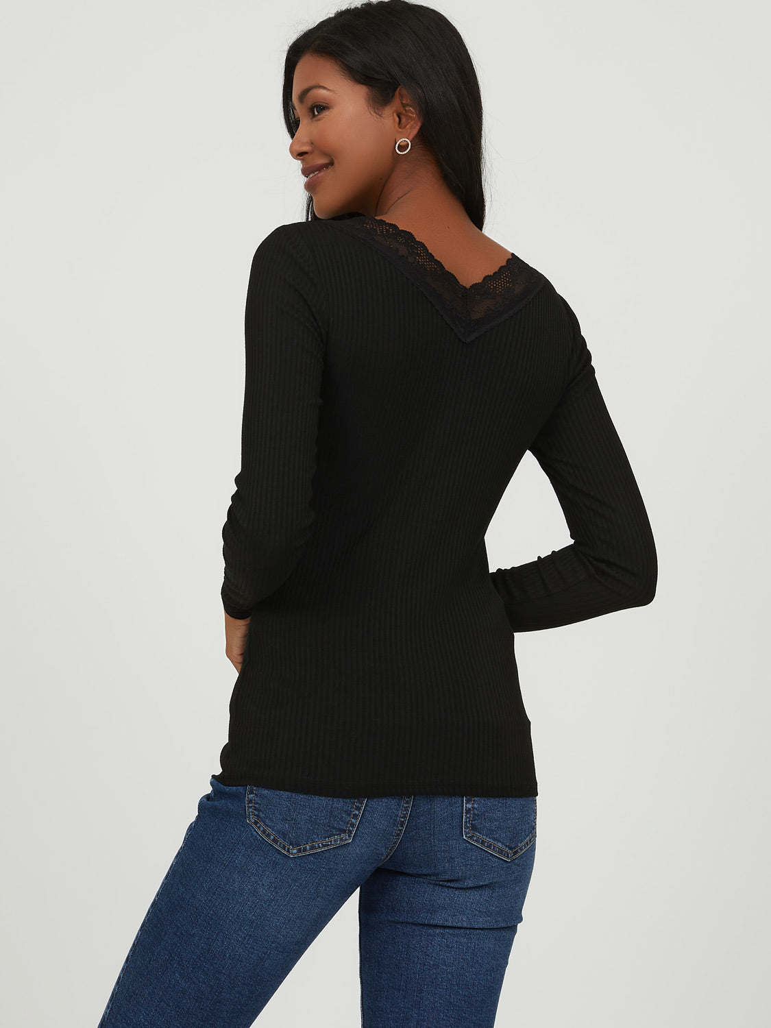 Lace Trim Rib Knit Sweater