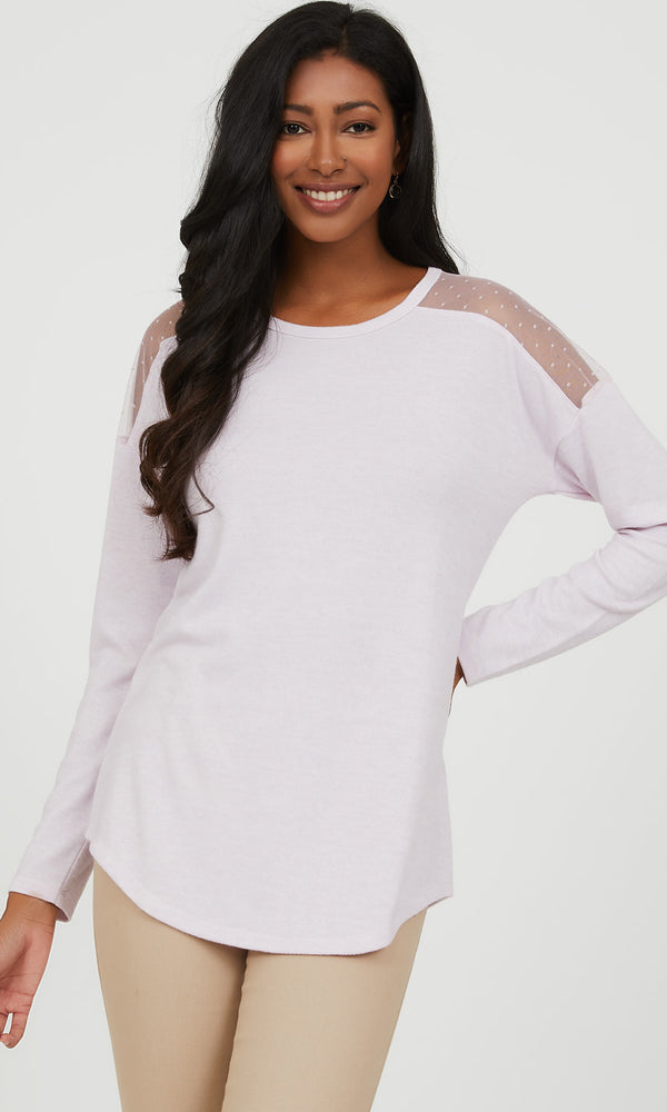Swiss Dot Mesh Shoulder Mélange Knit Top