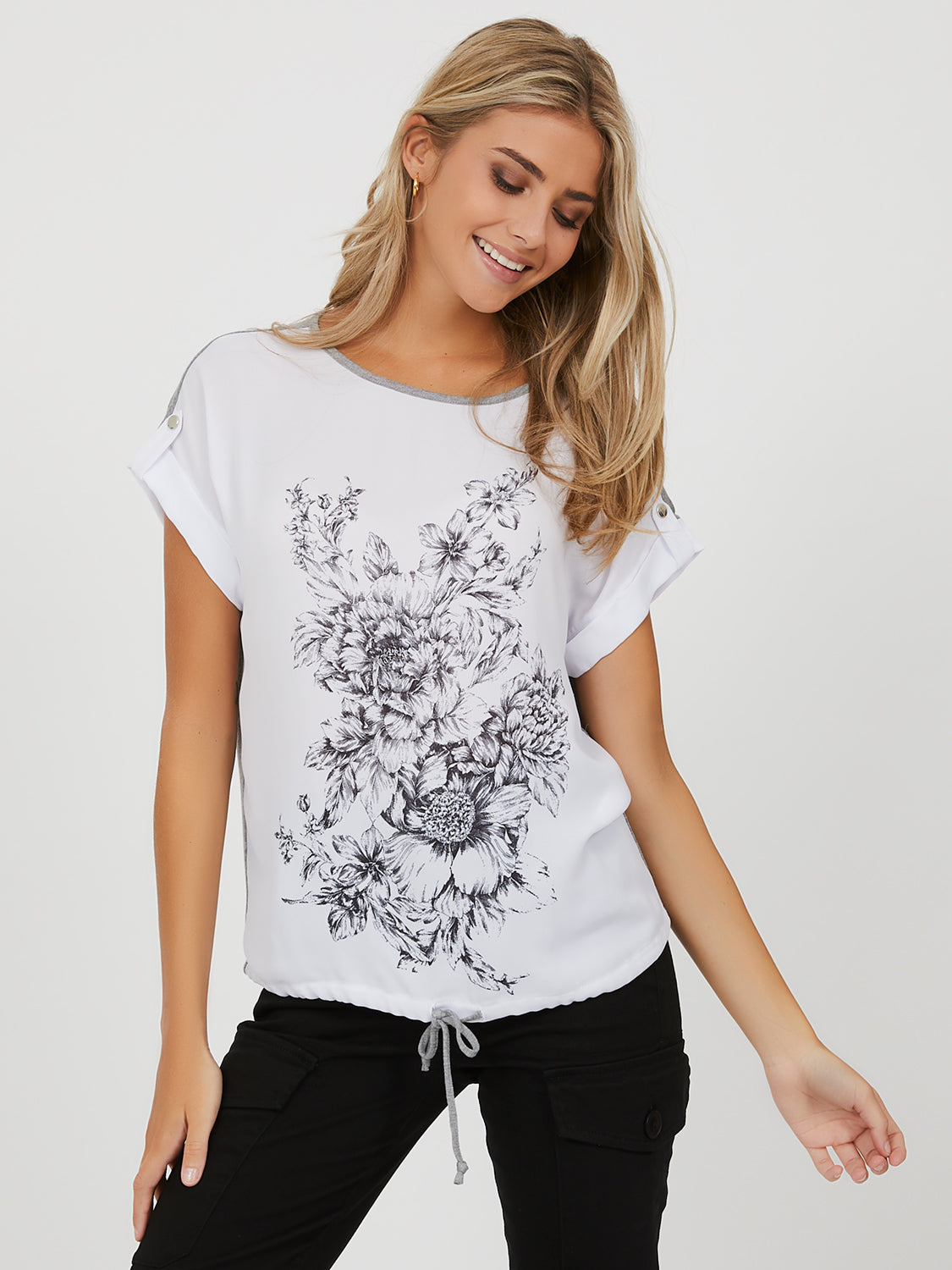 Cuffed Short Sleeve Graphic Print Tee