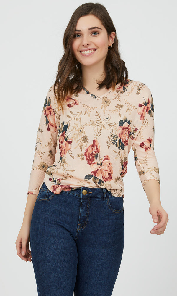 ¾ Sleeve Floral Sweater Knit Top