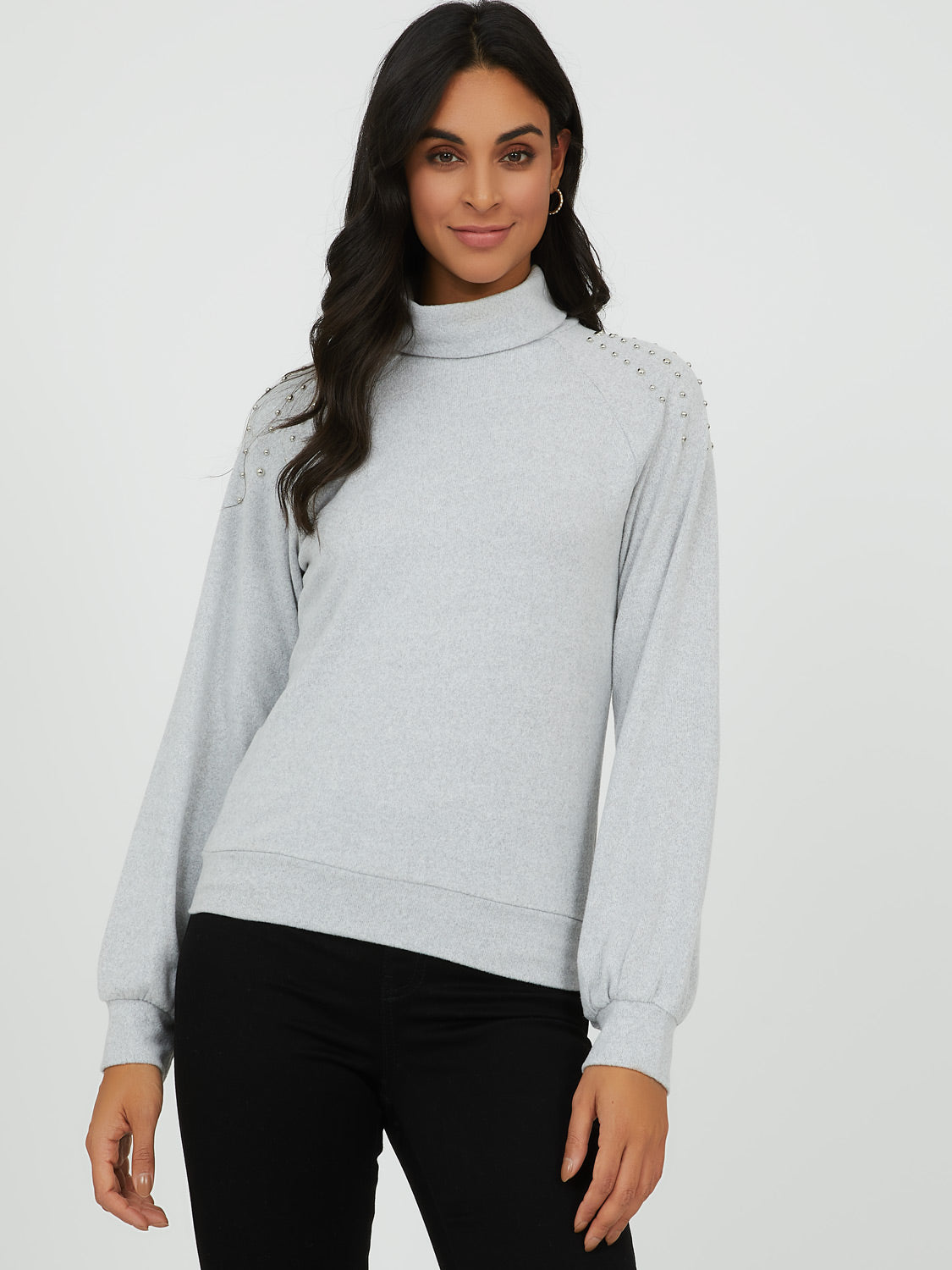 Studded Shoulder Knit Turtleneck Top