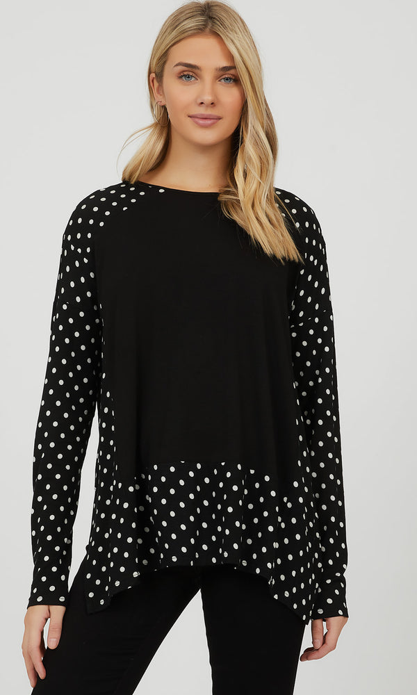 Colour Block Polka Dot Top