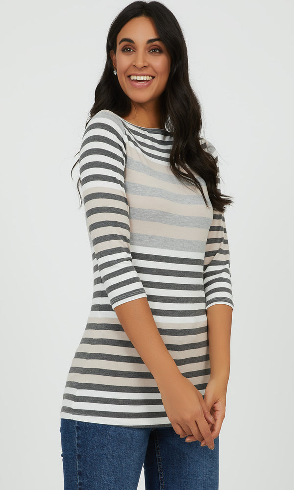 3/4 Yarn Dye Stripe Knit Top