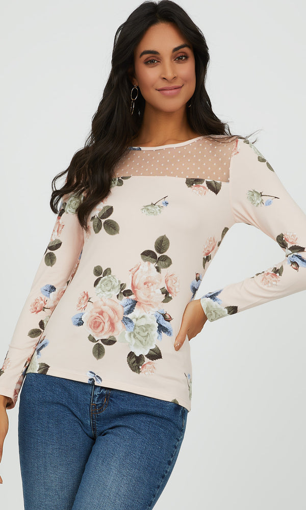 Floral Mélange Knit Top