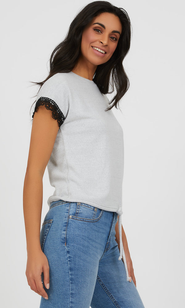 Short Crochet Sleeve Mélange Knit Top