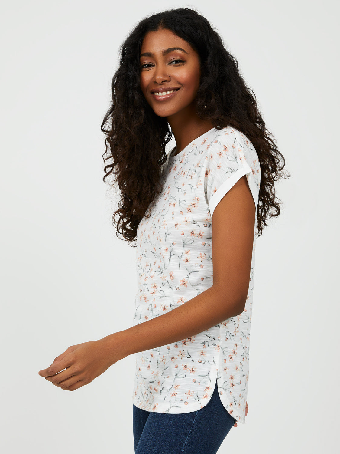 Rounded Hem Floral Print Tee