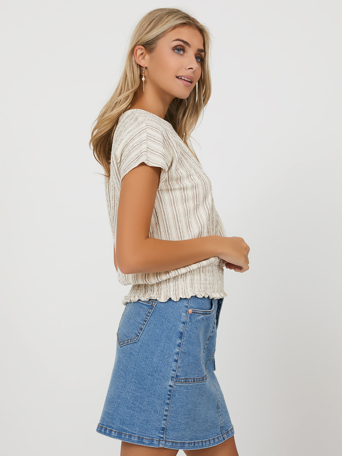Short Dolman Sleeve Textured Striped Tee