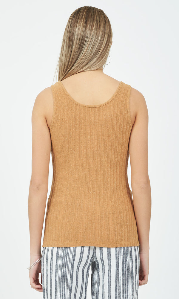 Scoop Neck Linen Ribbed Tank