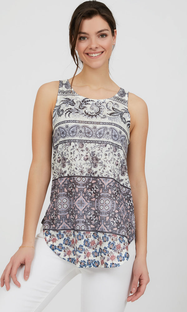Sleeveless Round Hem Printed Knit Top