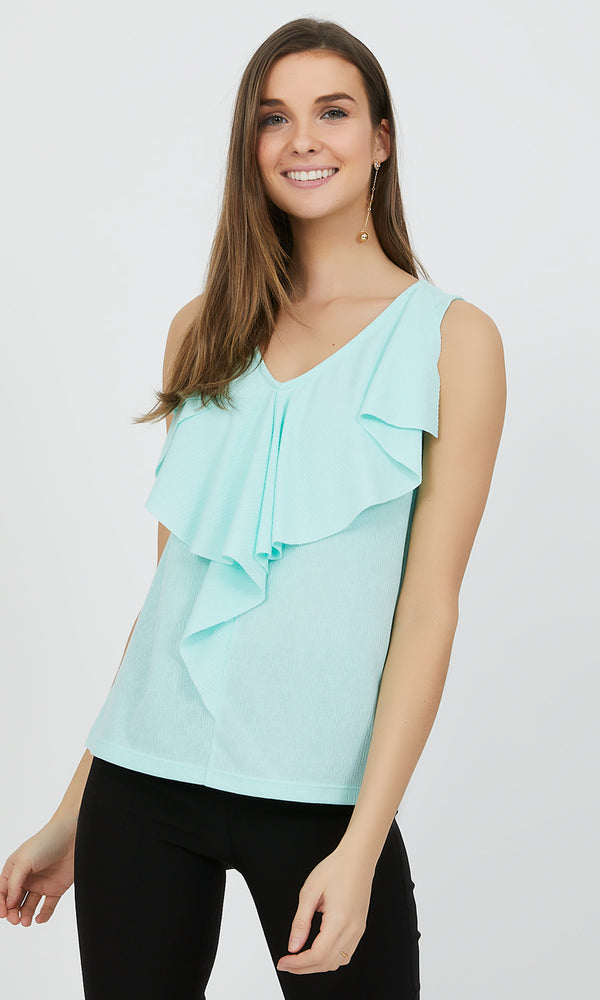 Sleeveless Textured Top with Ruffles