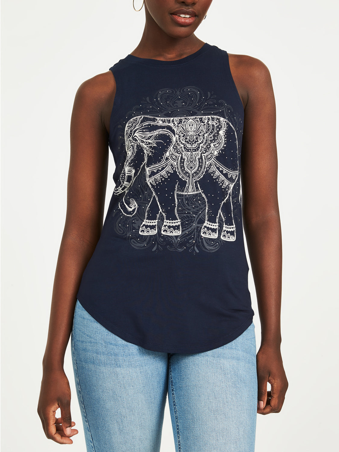 Embellished Elephant Tank Top