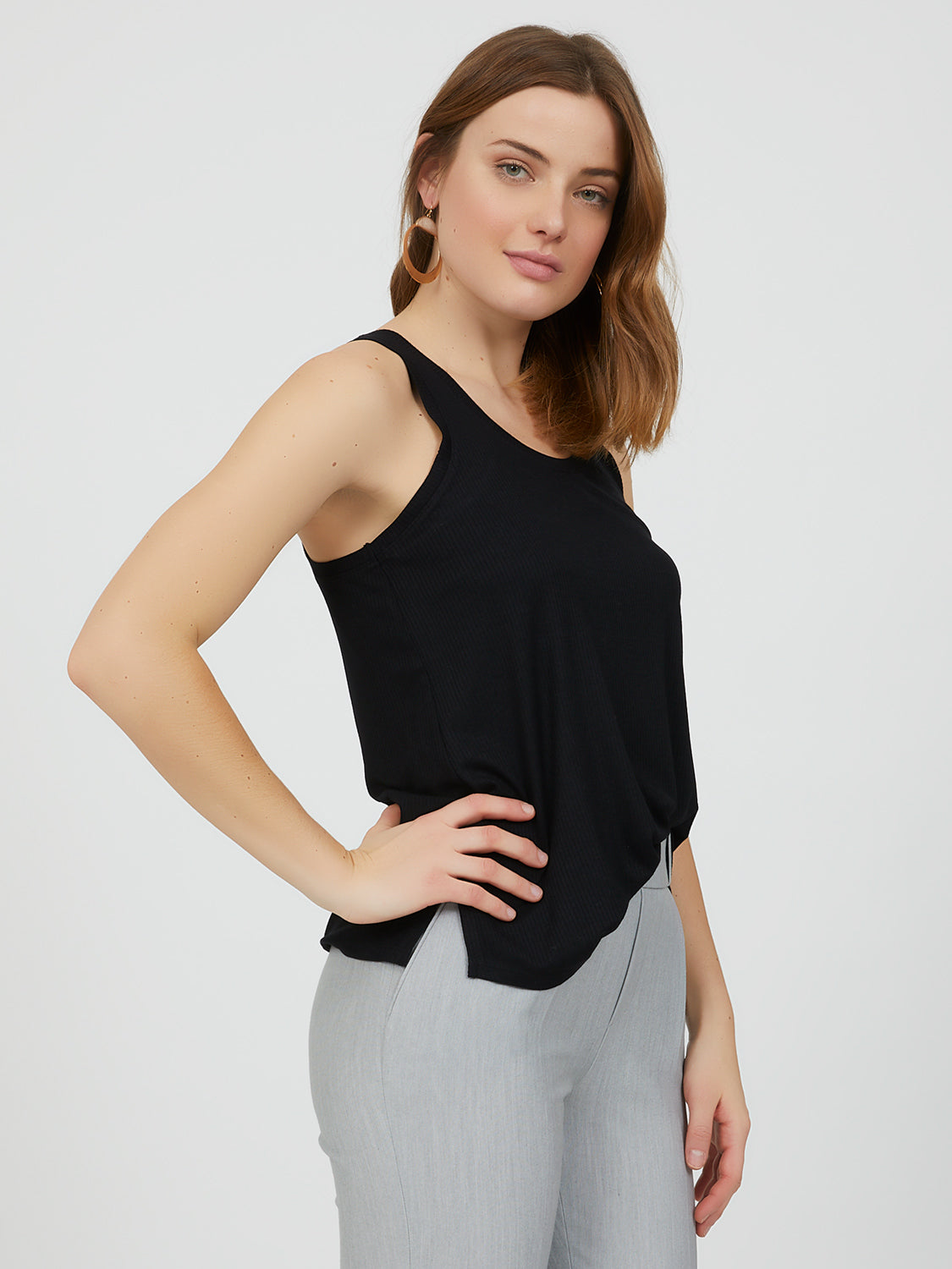 Sleeveless Rib Knit Tank Top