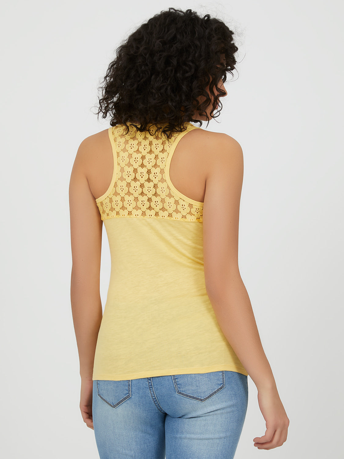 Sleeveless Flower Lace Racerback Tank Top