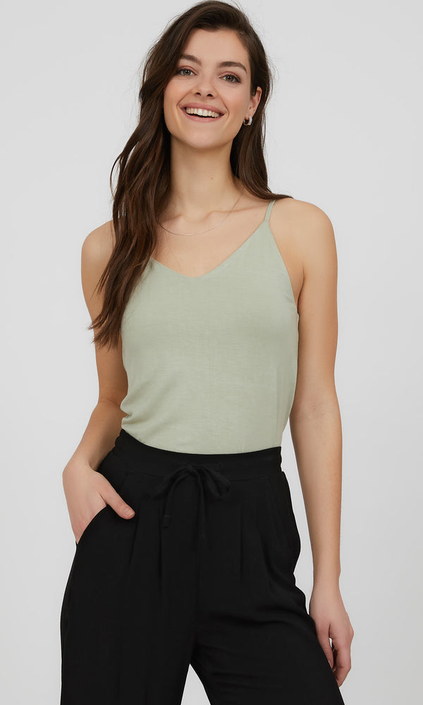 Adjustable Strap V-Neck Knit Camisole